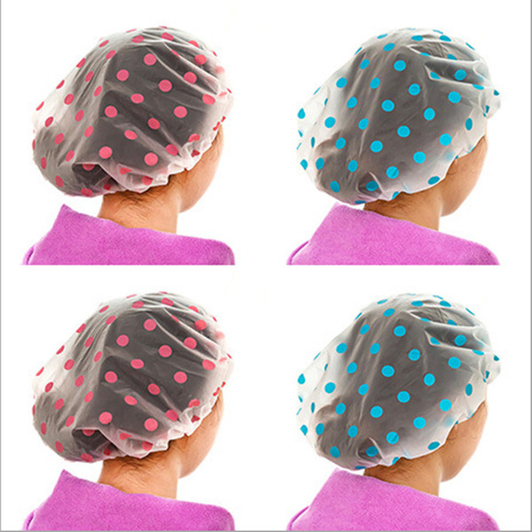 5PC Dot Waterproof Shower Cap Thicken Bath Hat Bathing Cap for Women
