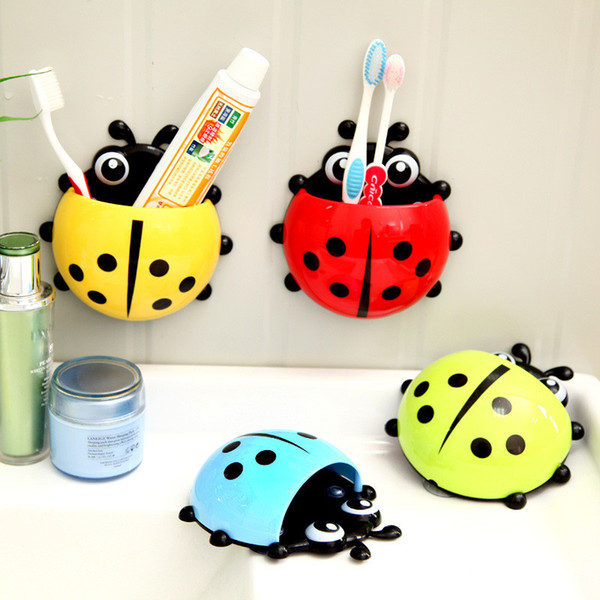 Ladybug Toothbrush 1PC Holder Toiletries Toothpaste Bathroom Sets Suction Hooks Tooth Brush Container Ladybird On Sale