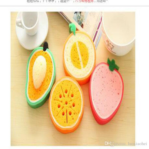 Wholesale Cartoon Novelty Fresh Fruit Style Bath Brushes Thickening Sponge Bowl Cleaner Kitchen Anti-Oil Sponge Eraser Scrubbers