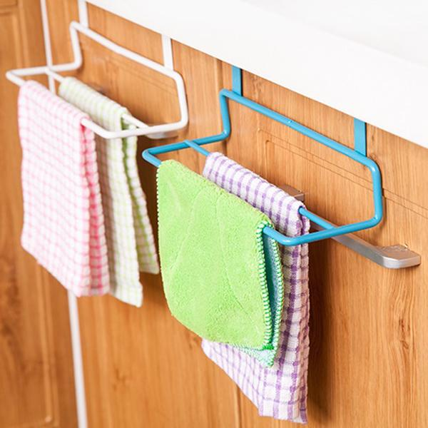 Iron kitchen cabinet door towel hook multi-purpose kitchen cabinet door double pole seamless dishclout hand towel rack Towel Racks