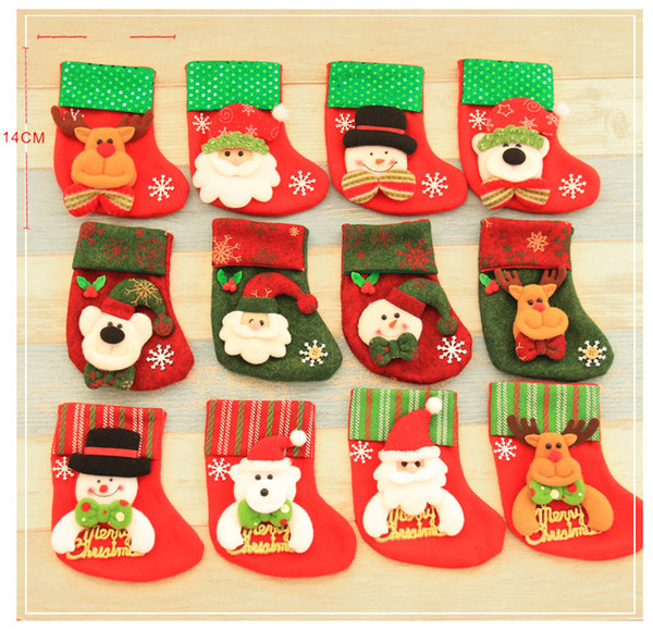 4-pack Christmas Candy Bags Sequins Embellished Non Woven Fabrics Christmas Socks Party Gifts For Kids Candy Bag Christmas Stockings