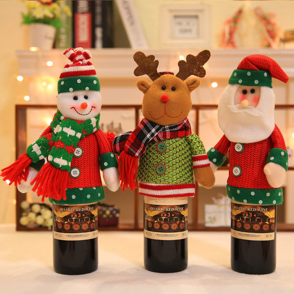 Christmas Santa Claus Snowman Doll Red Wine Bottle Covers Christmas Gifts Home Xmas Party Decor Decoration Supplies