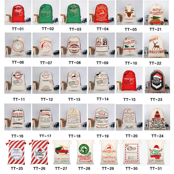 32 STYLES Christmas Gift Bags 2018 new Christmas Bag Drawstring Bag With Reindeers Santa Claus Sack Bags for Santa Sack kid bag