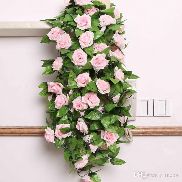 Artificial Silk Flowers Roses Plastic Rattan Vines Simulation Replica Rose Flower Leaves Pipeline Wedding Decoration Wedding 2015 New