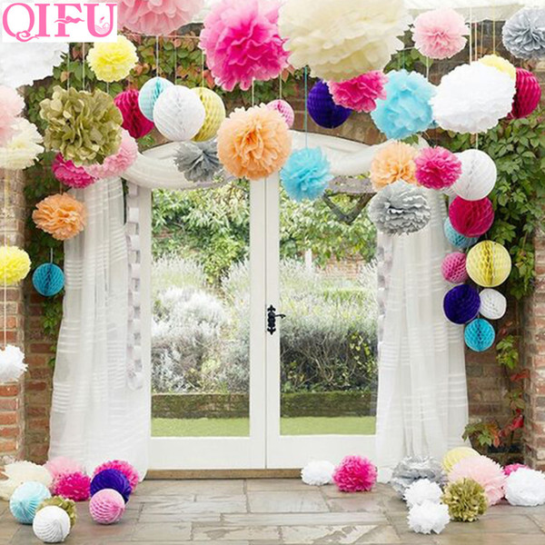 QIFU 5pcs Wedding Decoration Table PomPom Tissue Paper Birthday Party Decor Background Accessories Baby Shower Weeding Decor