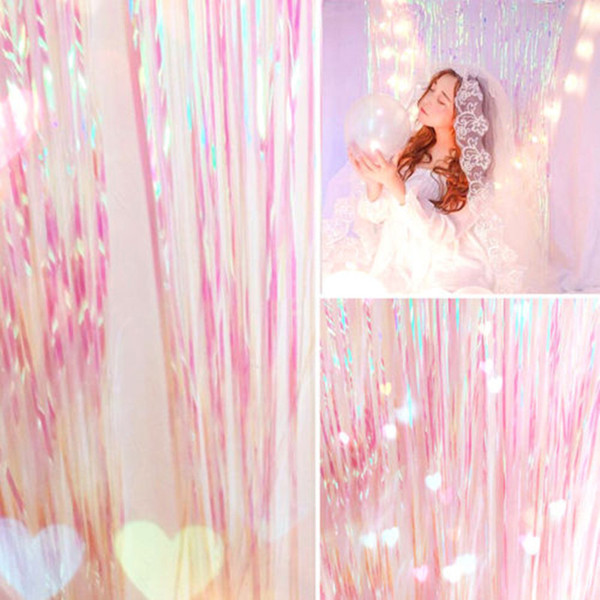 Shimmer Iridescent Foil Fringe Curtain Party Decoration Mermaid Luxury Romantic Backdrop Party DIY Decoration