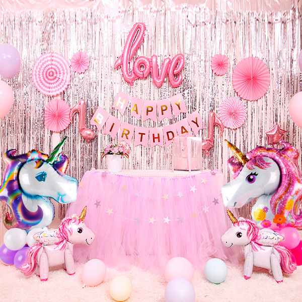 QIFU Unicorn Party Decor Birthday Unicorn Theme Foil Balloons Paper Hat Napkins Plate Table Cloth Kids Happy Birthday Gifts