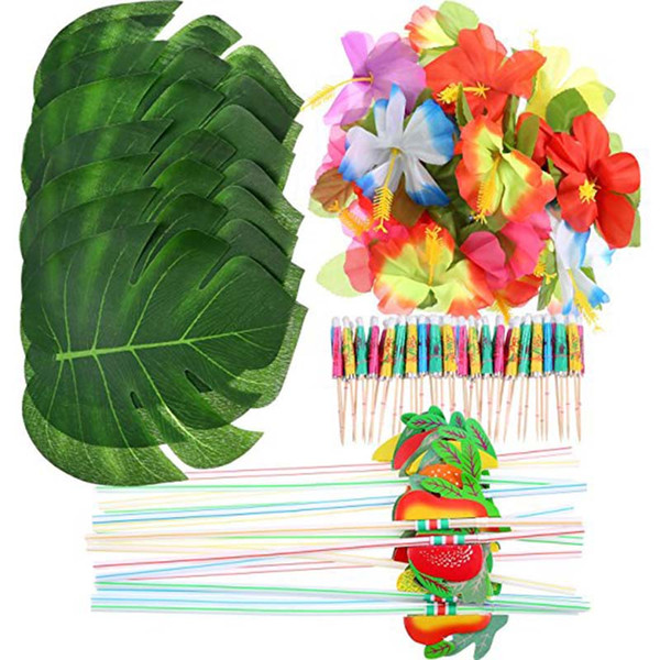 148 Pcs/Set Tropical Hawaiian Palm Leaf Flower Straw Luau Theme Grass Wedding Table Decor Jungle Beach Theme Party Decoration