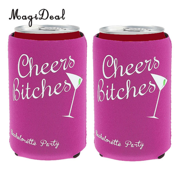 MagiDeal Lovely Set of 2Pcs Beer Bottle Cooler Sleeves Holders Craft for Wedding Hen Night Party Favor Cheers Bitches Supply