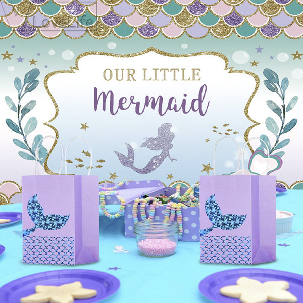 210X150cm Mermaid Party Backdrop Birthday Party Decorations Baby Newborn Photography Background Baby Shower Decorations