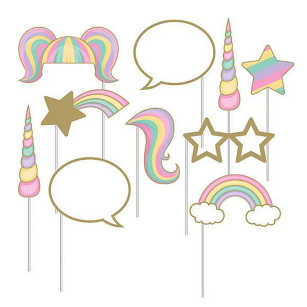 1Set Rainbow Unicorn Photo Booth Props Baby Kid Shower Photo Booth Props on A Stick Wedding Birthday Party Decoration Supplies,B