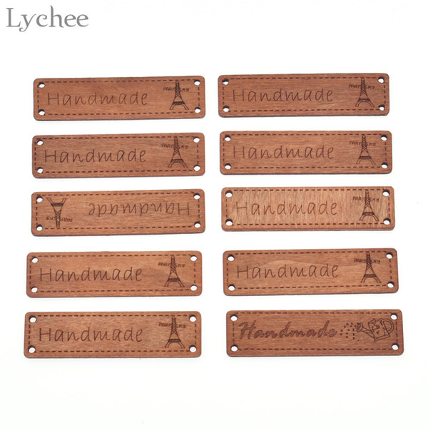 Lychee Life 10pcs Handmade Wooden Letter Decorative Crafts DIY Party Supplies For Birthday Label Wood Holiday Decorations