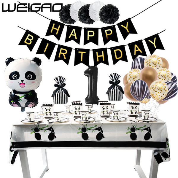 WEIGAO Birthday Panda Party Disposable Set Tableware Paper Plate Paper Napkins Glands Baby Shower Birthday Party Decorations Kid