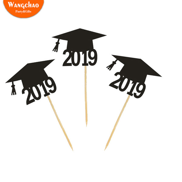 5pcs/bag Graduation 2019 Caps Cake Topper Cupcake Topper Cake Decoration Happy Bachelor Graduation Ceremony Party Supplies