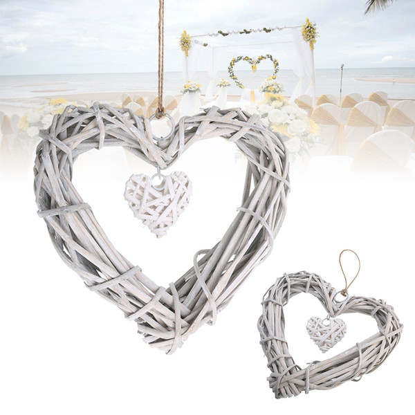 Chic Wicker Hanging Hearts Gray White Artificial Wreaths DIY Heart Wicker for Wedding Birthday Party Wall Hanging Decoration