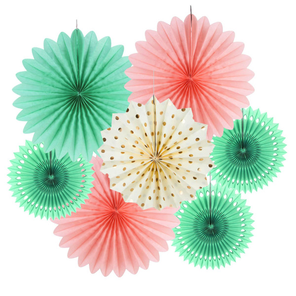 7pcs Paper Fan Kit Rosettes Photo Backdrop Paper Pinwheel Party Supplies for Wedding Birthday Baby Shower Decor