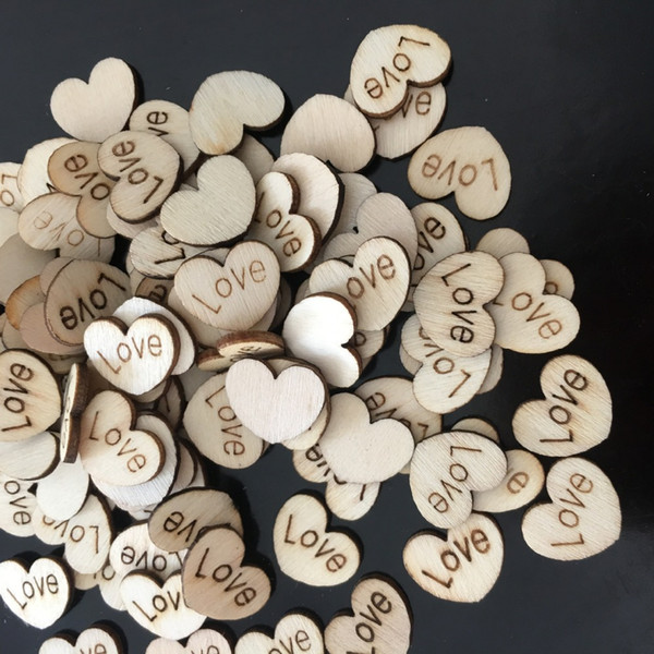 100pcs Love Heart Shape Wood Wooden Craft For Wedding Table Home Decor DIY Birthday Decoration Party Favor Scrapbooking 62071