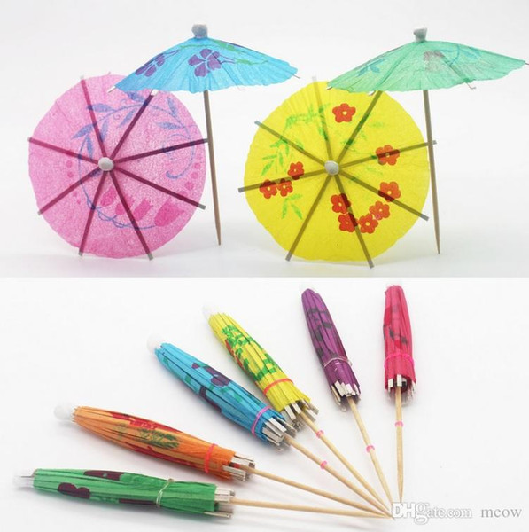 Paper Parasol Drink Deco Mini Umbrella Cocktail Cake Decorating Toothpick Fruit Bar Wedding Holiday Birthday Party Supplies Event
