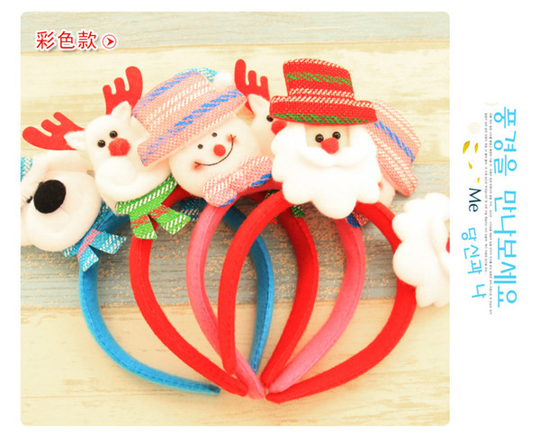 Christmas Kids Adult Glitter Antlers Santa Claus LED Hairbands New Year Christmas Headwear Hair Hoop 4 Color for Choice