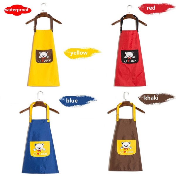 Children apron Waterproof With pocket Adjustable sling 5 colors 2 sizes Kindergarten School Child Student
