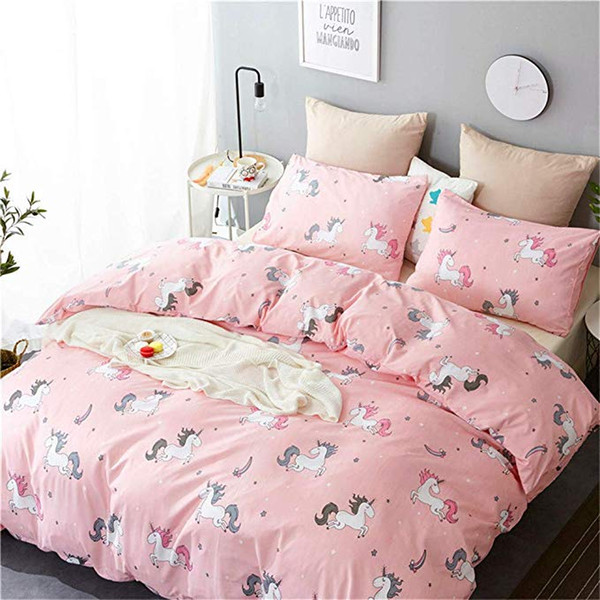 New Cartoon Unicorn Girls Duvet Cover Set for Kids Teens Girls Pink Animal Bedding Sets Queen Full Comforter Cover