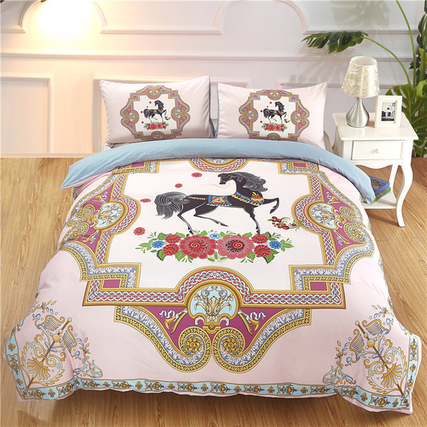 3D Print Horse Flower Duvet Cover Set for Kids Adults Girls Pink Blue Luxury Boho Cartoon Animal Bedding Sets
