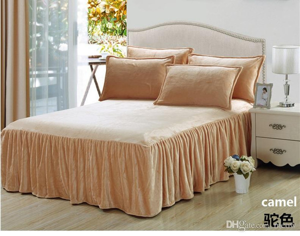Ultra Soft Bedspread Cover Sheet Solid Color Bed Skirt Flannel Comfortable Machine Washable with elastic band to fix