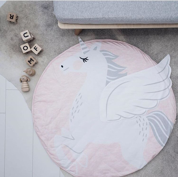 New Round Map unicorn Pattern Baby Blanket Game Mat Kid Crawling Carpet baby Bedding Stroller Blanket best Children's Room decration