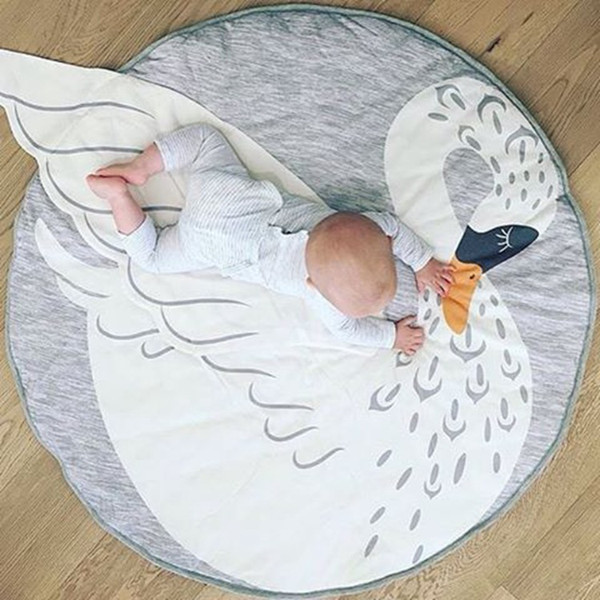 New arrivel Round Map swan Pattern Baby Blanket Game Mat Kid Crawling Carpet baby Bedding Stroller Blanket best Children's Room decration
