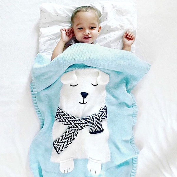 2018 Creative Knitted Children cartoon scarf bear Blanket Child Knit Cashmere-Like TV Sofa Blanket fashion style
