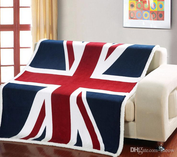 Reversible Ultra Plush Sherpa Printed Throw Blanket for Bedroom Couch Car Gift Dorm British Flag US Flag New York London 50