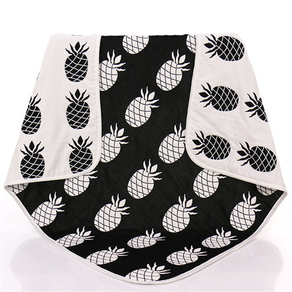 New Baby Children Muslin Blankets Black White Pineapple Cross Crawling Blanket Carpet for Infant Baby Bedspread Bath Towels Kids Play Mats
