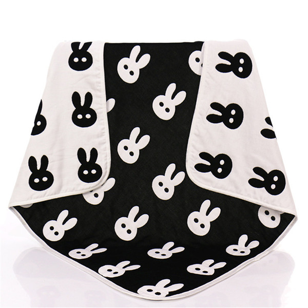 New Baby Children Muslin Blankets Black White Rabbit Cross Crawling Blanket Carpet for Infant Baby Bedspread Bath Towels Kids Play Mats