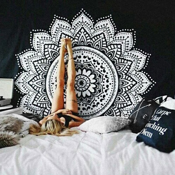 Classical black and white Mandala cloth tapestry,multi-function tapestry 146X146cm, table cloth, wall cloth, wearable beach blanket