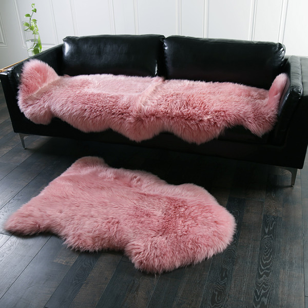 Honey pink color 2P Real full pelt NewZealand sheepskin rug 60*180cm ,light purple shaggy sheep fur decoration carpet for girl