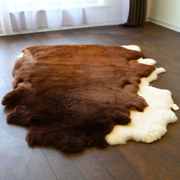 Natural Australian Uncut shaped sheepskin sheared fur carpet,durable max 1P 80*100cm sheep fur rug living room, bedroom cushion