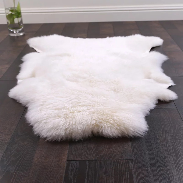 Uncut shaped 90*120CM Australian sheepskin rug for decoration carpet, natural white sheep fur cushion, sheep fur ground mat