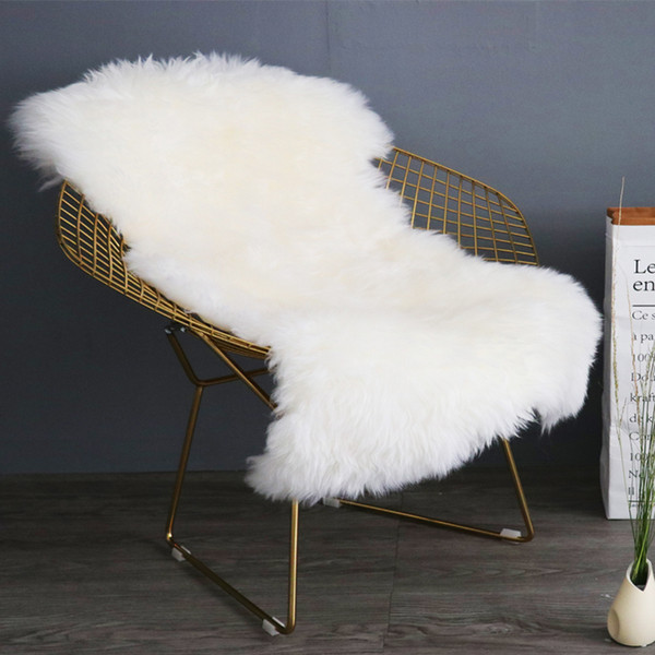 Real New Zealand beige color sheepskin rug for chair shaggy sheep skin fur blanket for home decoration 1P sheep fur sofa rug