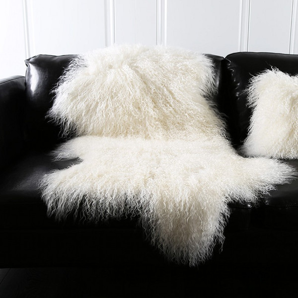 Natural white Mongolian sheep skin ground mat90*50cm genuine Tibet free cut shape sheepskin rug , decoration fur carpet