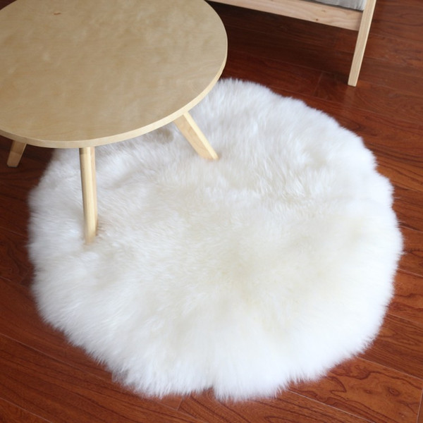 real sheep fur rug for home deco, sheepskin fur throw for furniture upholstery, sofa rugs round shaped white chair fur seat mat