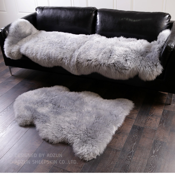 2017 new gray color 1P Real full pelt NewZealand sheepskin rug 70*100cm ,shaggy sheep fur decoration carpet ,soft lambskin fur