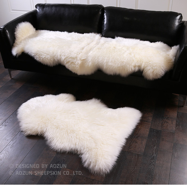 AOZUN 1P 4P Real NZ sheepskin rug 4 colors shaggy sheep skin fur carpet for home decor white fur sofa cover blanket