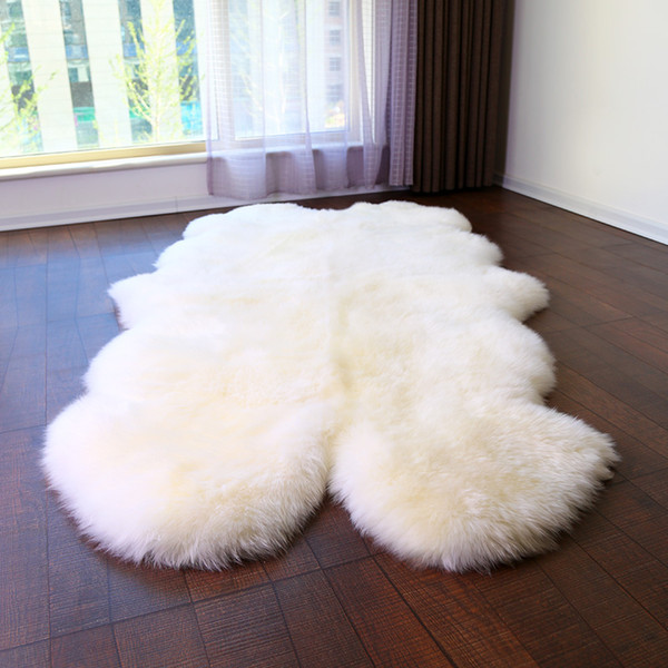 WonderFur SP1108 4P Quad sheepskin rug 100*200cm shaggy sheep skin carpet for home decor bed mat 5 colors blanket ground mat