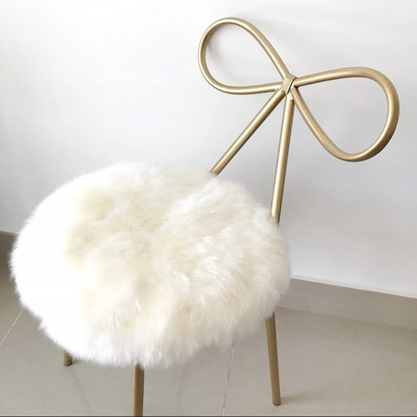 100% real sheepskin round shaped cushion , Sheepfur small rug 35*35cm Genuine natural white fur seat mat, fur chair mat