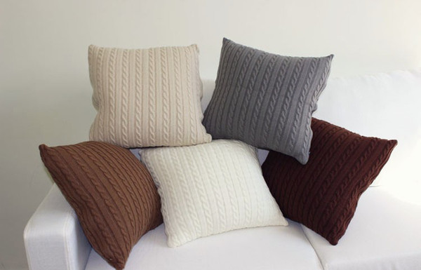 New Arrive Vintage Nordico Knitted Cushion Cover Pillow Case Fashion 45cm*45cm E011 Coffee and Ivory 5 COLORS.