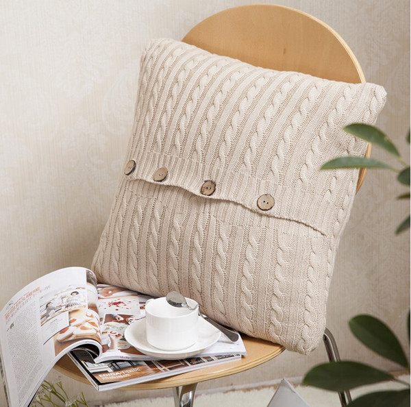 vintage pillows case solid knitted buttons square beige cushion cover soft cushion covers home textile size 45x45cm high quality