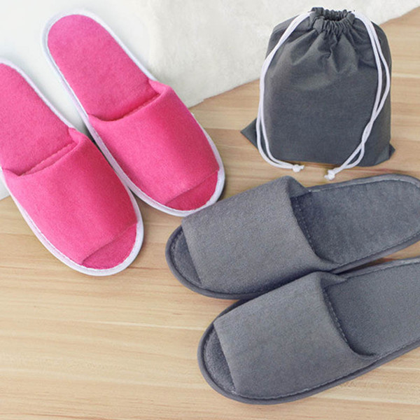Disposable Folding Slippers Women Men Travel Business Trip Hotel Club Portable Home Guest Slippers With Bag