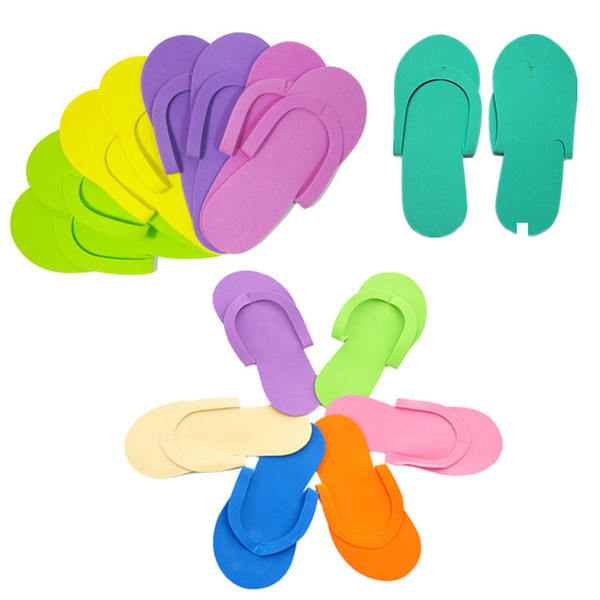 Soft Nail Disposable Slippers Flip Flop Foam Pedicure Foot Spas Separators Nails Art Beauty Slipper Random Color BH160