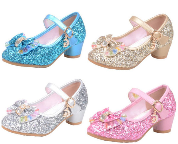 Glitter Girls High Heels Shoes For Children Kids Princess Sandals Tie Bowknot Baby Girls Crystal Shoes For Wedding Party 27-37Y A42506