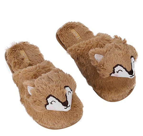 Winter Warm Soft Indoor Slippers Cute Hedgehog Animal Fuzzy Bedroom Winter Slippers Shoes Fluffy Slippers